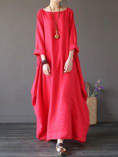 dc25e802872b L-5XL Casual Women Loose Pure Color Baggy 3 4 Sleeve Maxi Dress