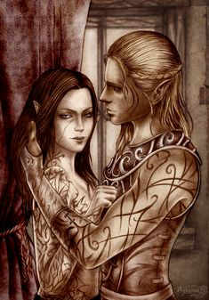 "I like this subtle scene between Zevran and the warden. ""Don't hide your scar"" by Agregor on deviantART."