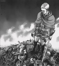Humanity's Strongest I'll repay my debts in Hell. Erwin Smith - Snk chapter Mike is at the top of the pile Mikasa, Armin, Attack On Titan Season, Attack On Titan Anime, Titan Manga, Manhwa, Levi X Petra, Connie Springer, Naruto