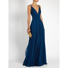 Elie Saab Plunging V-neck sleeveless silk-georgette gown ($4,629) ❤ liked on Polyvore featuring dresses, gowns, elie saab gowns, plunging neckline gown, white evening gowns, plunge-neck dresses and sleeveless dress