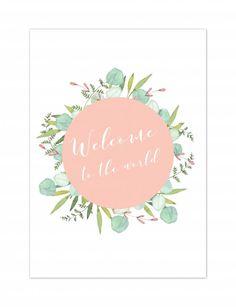 """Wenskaartje """"Welcome to the world"""" - Botanical kaartje voor de geboorte van een jongen of meisje - Koop hier leuke en originele wenskaarten ontworpen door Yellow Sky. #mint #botanical #geboorte #meisje #jongen #baby"""
