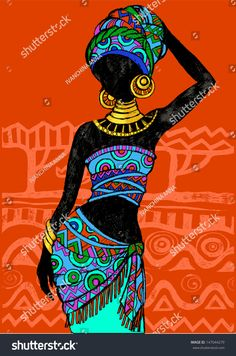 Find Hand Drawn Illustration Beautiful Black Womanafrican stock images in HD and millions of other royalty-free stock photos, illustrations and vectors in the Shutterstock collection. Thousands of new, high-quality pictures added every day. African Drawings, African Art Paintings, Arte Tribal, Tribal Art, Afrika Tattoos, Afrique Art, Art Premier, Black Women Art, Woman Painting