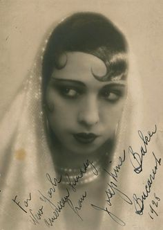 """Josephine Baker in La Revue Nègre, 1925 - Josephine Baker (born Freda Josephine McDonald; 3 June 1906 – 12 April 1975) was a French dancer, jazz and pop music singer, and actress, who came to be known in various circles as the """"Black Pearl"""", """"Bronze Venus"""" """"Jazz Queen"""", and even the """"Creole Goddess""""."""