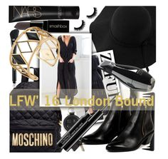 """""""LFW'16 London Bound"""" by chiclookdujour ❤ liked on Polyvore featuring Sans Souci, Moschino, Alexander Wang, Smashbox, MAC Cosmetics, GHD, Marc Jacobs, AZI, Rebecca Minkoff and women's clothing"""
