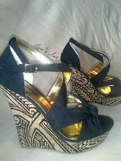 Polynesian Designed Wedges. $125.00, via Etsy.