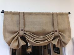 Burlap valance/London shade/Tie up shade/Pull up shade/Country Decor/ Wedding decor/Trending items/window treatments/valance by pillowpuff on Etsy