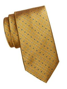 Saks Fifth Avenue Dotted Grid Silk Tie In Yellow Saks Fifth Avenue, Silk Ties, Grid, Dots, Yellow, Classic, Shopping, Classic Books, Stitches