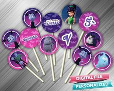 Vampirina Cupcake Toppers - PrintDParty Selling Birthday Invitation and Printable Party Decoration Digital File. Printable Birthday Invitations, Party Printables, Birthday Party Decorations Diy, Birthday Parties, Favor Tags, Cupcake Toppers, Card Stock, This Or That Questions, Etsy