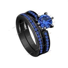 1.50Ct Basket & Round Cut 14k Black GP 925 Silver Blue Sapphire Bridal Ring…