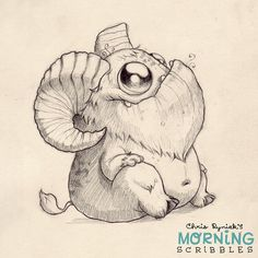 This critter needs a name.  Hoofy? Hornsicle? Robert?  Goat-bot 2000?   #morningscribbles
