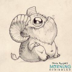 This critter needs a name. Hoofy? Hornsicle? Robert? Goat-bot 2000? #morningscribbles