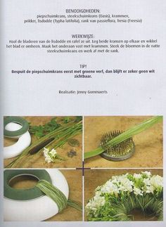 Wreath diy - oasis wreath and styrofoam (painted green) wreath, Cattail (typha latifolia), rank of passion flora and Freesias ~ Jenny Gommaerts Arte Floral, Deco Floral, Floral Design, Floral Foam, Funeral Flower Arrangements, Funeral Flowers, Floral Arrangements, Ikebana, Flower Crafts