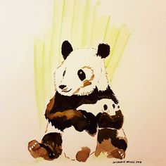 Panda and cub in ink for Inktober 2016 Sketches, Pikachu, Drawings, Painting, Illustration Art, Ink Drawing, Art, Ink, Inktober 2016