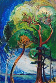 Emily Carr (Canadian, 1871-1945), Arbutus Trees, c.1933. Oil on paper on board, 36 x 24 in.