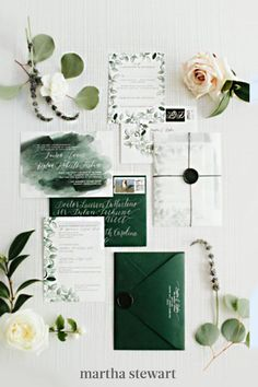 Fall and winter couples, take notes from this emerald-themed suite, created by One + Only Paper and calligraphed by Samantha Terhune, which involved splashes of ombré green and a hand-drawn leaf frame. #weddingideas #wedding #marthstewartwedding #weddingplanning #weddingchecklist Watercolor Wedding Invitations, Printable Invitations, Wedding Invitation Cards, Wedding Stationery, Wedding Planner, Invitation Kits, Invitation Wording, Shower Invitations, Wedding Cards