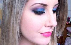 maquiagem azul e rosa, tudo make