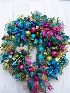 Christmas Wreath With   Fairy Xmas  Tree in Turquoise Lime Green Hot Pink. $169.00, via Etsy.