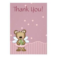 Teddy Bear Pink Fairy Princess Thank You Custom Invitations