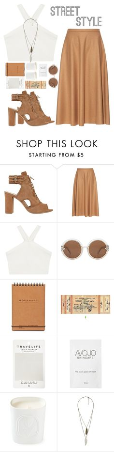 """NYFW: Lace-up booties"" by xniko ❤ liked on Polyvore featuring Alexandre Birman, MaxMara, BCBGMAXAZRIA, Karen Walker, Mark's Tokyo Edge, Diptyque and Forever 21"