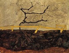 Trees ,branches,autumn   -  Egon Schiele  Austrian 1890-1918  -  Bare Tree behind a Fence   - 1912