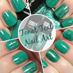 Teal Nail Art #IHeartNailArt via @All Lacquered Up