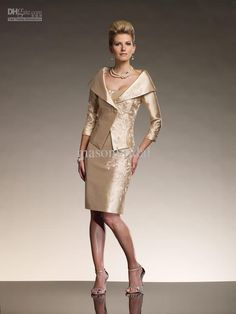 Wholesale - Luxe Gold line Hot Mother of the Bride Dresses Satin Sheath Strapless Knee-length Appliques M0239, $115.91