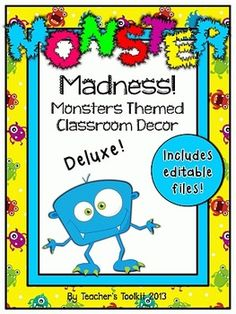 Monster Madness! Deluxe Classroom Decor Set {plus editable files}. Thinking ahead to the next school year? Why not consider this adorable Monster Room Theme for your classroom? This is the 'deluxe edition' and includes editable files! I hope this packet will meet your needs as you think about classroom organization for your new students. 121 page pack.