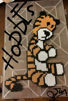 Hobbes from Calvin & Hobbes done with perler beads.
