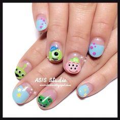 32 trendy nails art disney characters - Home Disney Acrylic Nails, Disney Nails, Cute Acrylic Nails, Acrylic Nail Designs, Cute Nails, Nail Art Designs, Monster University Nails, Monster Inc Nails, Gelish Nails