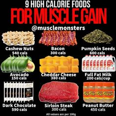 Forget About Counting Calories - Eat Nutrient Dense Foods, Forget About Counting Calories - Eat Nutrient Dense Foods 9 High-Calorie Foods! 6 calorie-filled foods that'll make eating enough a breeze. Food To Gain Muscle, Muscle Building Foods, Muscle Food, Build Muscle, Vegan Muscle, Food For Muscle Growth, Lean Muscle Meal Plan, Weight Gain Meals, Meal Plans To Lose Weight