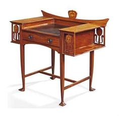 "Art Nouveau Ladies Writing Desk. Mahogany with Marquetry Inlays and Leather Writing Surface. European. Circa 1900. 37"" x 35-1/2"" x 21-1/2""."