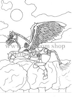 Hand Drawn Mythical Horse, coloring, coloring page,  fantasy horse, horse mythical, Armored Horse, wings, moon, clouds, trees by Bellasfair on Etsy