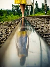 Reflection on train tracks