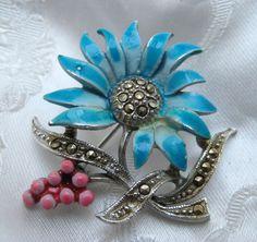 Rare Vintage 1950s Marcasite Blue Enamel Tropical Flower Brooch Beautiful #unbranded
