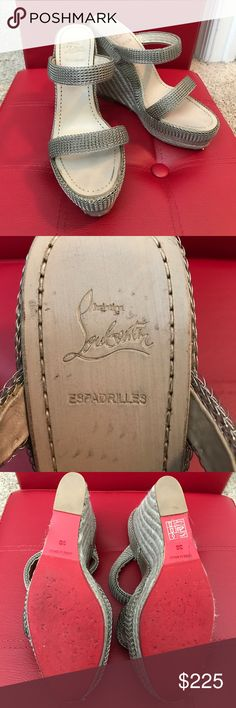 """Christian Louboutin Espadrilles Wedge Shoes Christian Louboutin Espadrilles Silver Soft Metal and Leather Two Strap Wedge with a 5"""" heel. I wore these a few times. Very comfortable. Made in Spain Christian Louboutin Shoes Wedges"""
