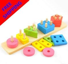 Montessori Baby Wooden Toys Learning And Education Toys For Children Kids Learn Maths And Colors Shape