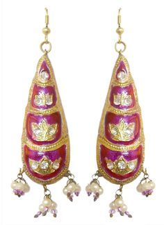 Magenta+with+Golden+Dangle+Lac+Earrings+(Lac,+Bead+and+Stone)