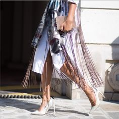 Burberry fringes and white heels