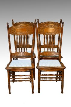 Sold Antique Set Of 4 Larkin 1 Press Back Chairs