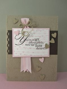 Stampin Up's Word Play stamp, small punch; love the crumb cake and early espresso with a touch of Pink Pirouette color combo!