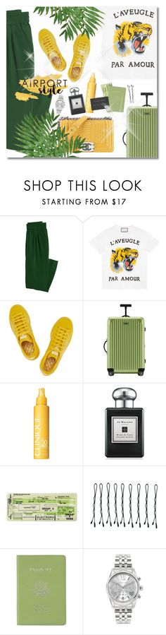 """""""Jet Set: Airport Style"""" by plnzh ❤ liked on Polyvore featuring Canvas by Lands' End, Gucci, adidas, Rimowa, Chanel, Jo Malone, BOBBY, Royce Leather and Michael Kors"""