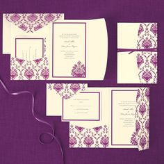 Purple Ivory Elegant Pocket Invite 30ct