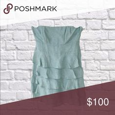 Reiss tiered strapless dress Light blue. cotton voile Reiss Dresses Mini