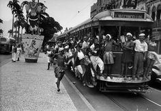 crowd pack up a tram going to town to see Getulio Vargas' inauguration - 31 January 1951.