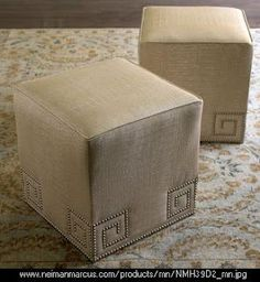 Greek Key with upholstery nails Furniture Fix, Furniture Slipcovers, Furniture Design, Accent Furniture, Amber Interiors, Key Design, Pouf Ottoman, Diy Bed, Greek Key