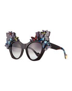 163a06540de9b 3D Glitter Butterfly Sunglasses by Anna-Karin Karlsson at Neiman Marcus.  Cat Eye Sunglasses