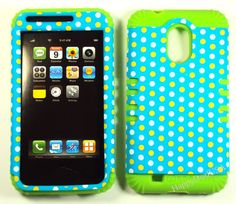 Hybrid Silicone Cover Case for T Mobile Samsung Galaxy S2 T989 LG Polka Dot Teal | eBay