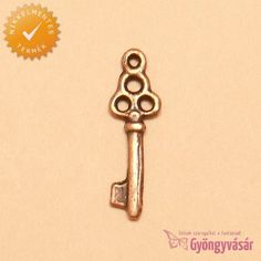 Bronzszínű kulcs - nikkelmentes fém fityegő