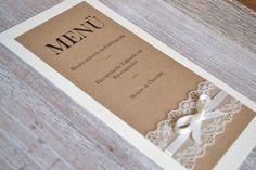 Hochzeitsdeko - Menükarte Vintage mit Spitze zur Hochzeit - ein Designerstück von Velvet-Design bei DaWanda