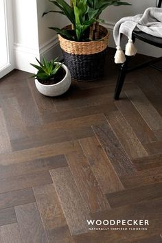 Description:For a sophisticated and elegant look in your home then the Woodpecker Goodrich Espresso Oak flooring is perfect. Carefully brushed and matt lacquered this parquet floor has a wonderful textured feel, whilst the wavering shades i Wood Floor Design, Home, Living Room Flooring, Herringbone Wood Floor, Hardwood Floors, Flooring, Floor Design, Natural Wood, House Interior